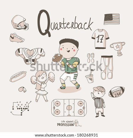 Cute vector alphabet profession letter q quarterback stock vector
