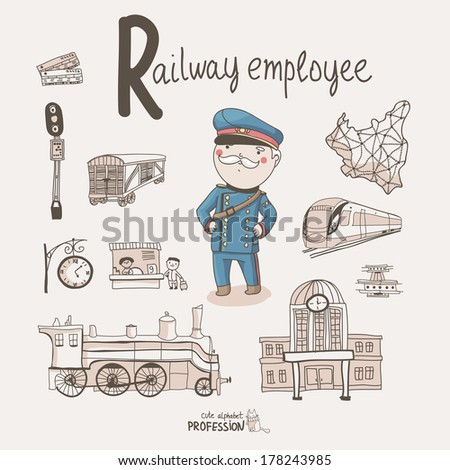 Cute vector alphabet Profession Letter R Railway Employee
