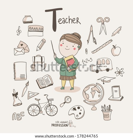 Cute vector alphabet Profession Letter T Teacher
