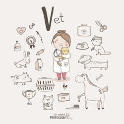 Cute vector alphabet Profession. Letter V - Vet
