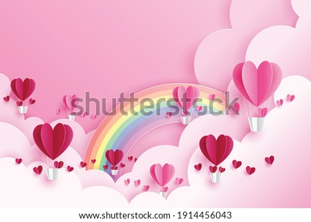 cute vector background of love and valentine day with pink heart balloon flouting on pink sky with clouds and rainbow. origami, paper cut style. Stockfoto ©