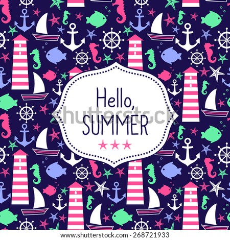 Cute Vector Card Hello Summer. Navy Vector Seamless Sea Pattern: Sailboat,  Li.