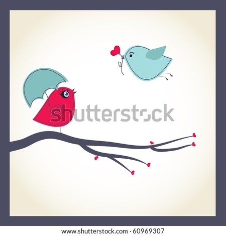 cute vector card with birds