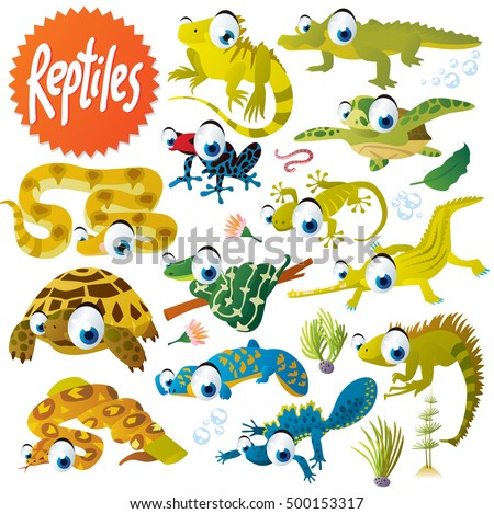 cute vector cartoon reptile