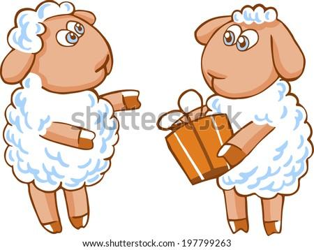 cute vector cartoon sheep