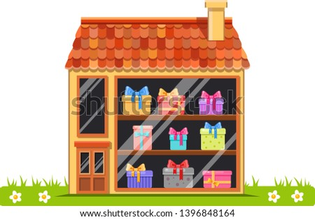 Cute vector cartoon shop of presents in a house with red tile roof on grass. Bright building illustration. European street. Town elements.Traditional architecture. Boxes with bows. Buying gifts