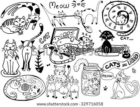 cute vector catsfunny doodle wallpaper 329716058