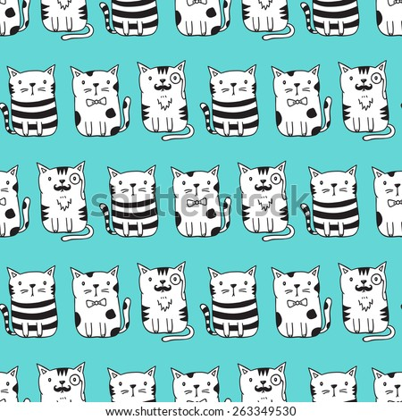 Cute vector cats seamless pattern. Cat pattern with light blue background. Funny doodle wallpaper