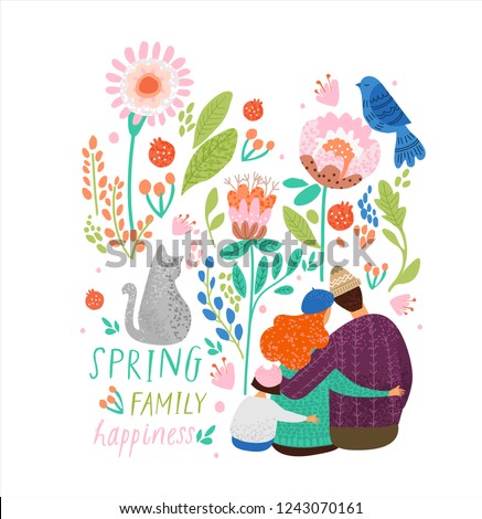 cute vector decorative illustration of spring, family, pet cat and bird surrounded by an ornament of flowers and plants, a magic fairy tale floral card or poster