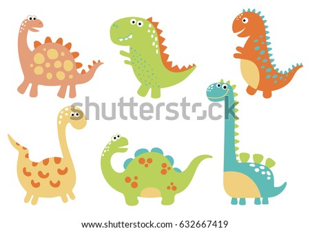cute vector dinosaurs isolated