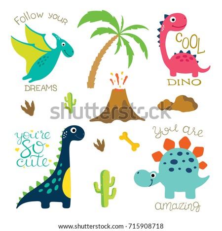 cute vector dinosaurs isolated