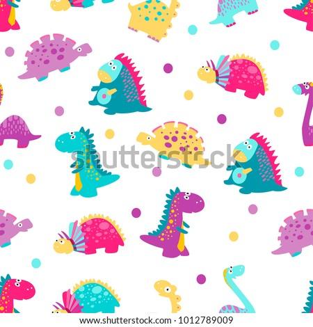 stock-vector-cute-vector-dinosaurs-seamless-pattern
