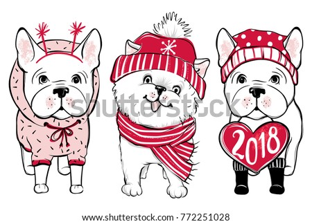 cute vector dogs in winter