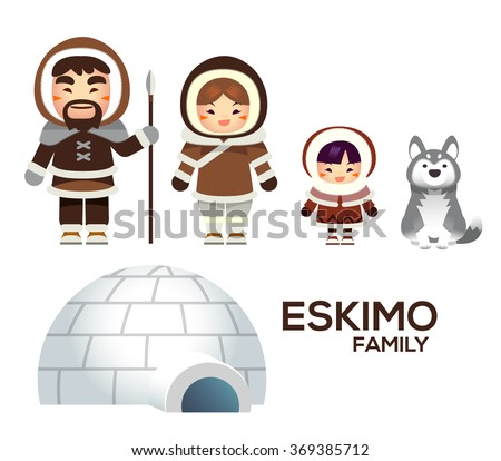 cute vector eskimo family with