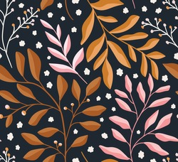 Cute vector floral seamless pattern. Colorful leaves background. Trendy repeat texture for fashion print, wallpaper or fabric.