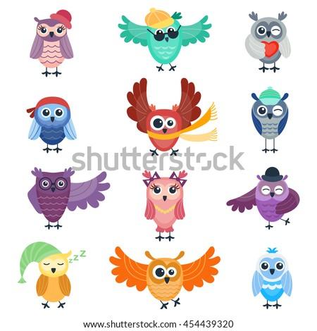 cute vector funny cartoon owls