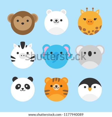 Cute vector icon set of zoo animals. Round animal illustrations; monkey, polar bear, giraffe, zebra, elephant, koala bear, panda bear, tiger and penguin. Isolated on baby blue background.