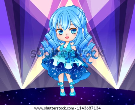 Beautiful Chibi Zodiac Girl Kawaii Anime Manga Teenager Big Eyes Use For Postcards Print On Clothes