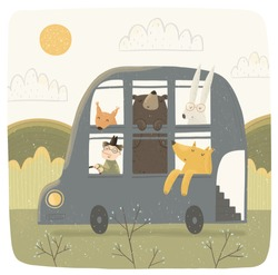 Cute vector illustration of a funny bus with animals on nature. The veterinarian carries characters: fox, hare, bear and squirrel. Child's drawing for postcard, card or background.