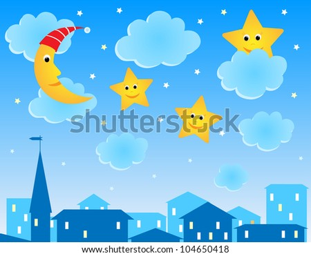 Cute vector illustration of night roofs, moon and funny stars
