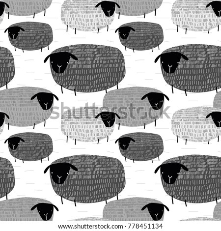 Cute vector illustration seamless pattern of graphic drawing funny sheep on grey background. Fluffy wool pet background for fabric, textile, paper, wallpaper, wrapping or greeting card. Doodle element