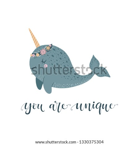 Cute vector illustration with narwhal baby for baby wear and invitation card.