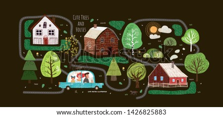 Cute vector illustrations of houses, trees, roads, clouds, sun, spruce, map and family in the car. Isolated objects for a card, poster and card