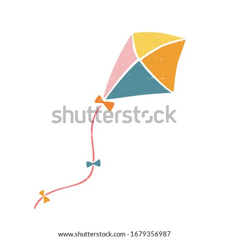 Cute vector kite. Colored kite isolated on a transparent background. Vector shabby hand drawn illustration ストックフォト ©