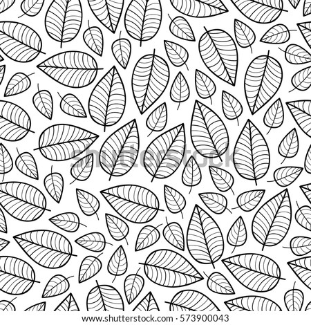 Cute vector leaf seamless pattern. Abstract print with leaves. Elegant beautiful nature ornament for fabric, wrapping and textile. Scrapbook black and white paper