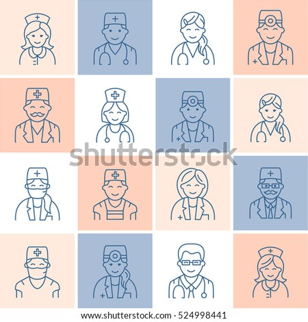 Cute vector line icon of doctor. Hospital, clinic linear logo. Outline  sign - surgeon cardiologist, dentist, therapist, physician nurse. Design element for site, medical business logo