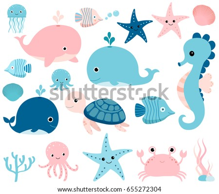 cute vector ocean set with sea