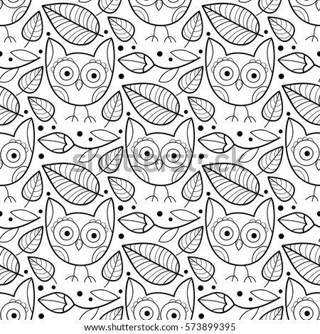 Cute vector owl and flower seamless pattern. Abstract colorful print with flowers, owls and leaves. Scrapbook black and white kids paper