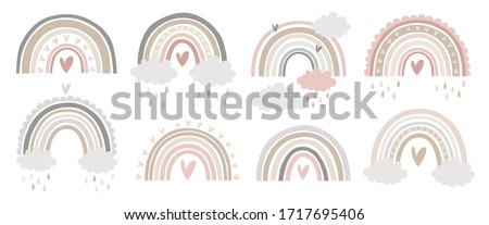 cute vector pastel rainbow set