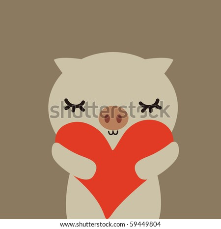 Cute vector pig with love - stock vector
