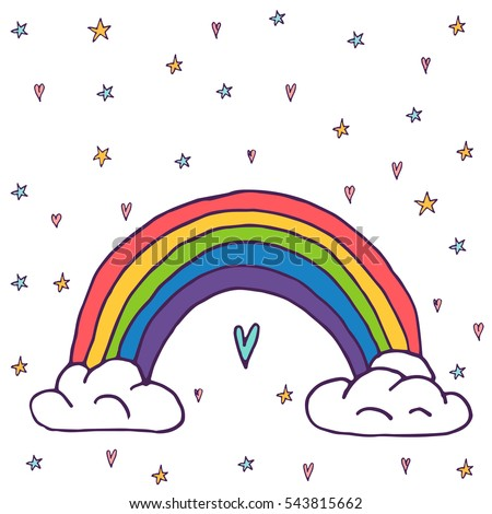 cute vector rainbow with clouds