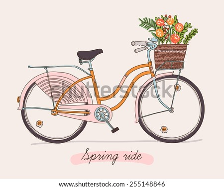 Cute vector retro bicycle for ladies with basket full of spring flowers   Hand drawn vintage fashionable design on spring season ride. Ideal for scrap booking, post cards and wall decoration
