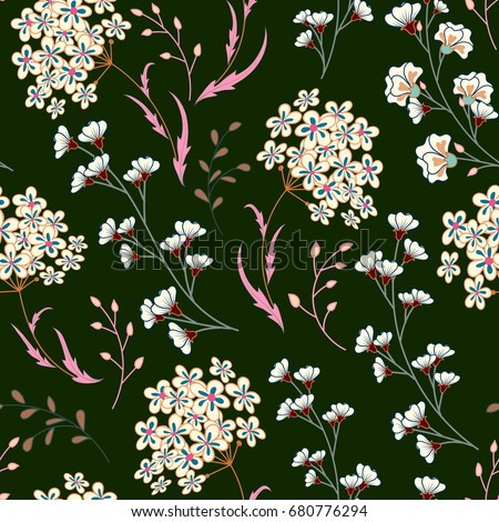 Cute vector seamless floral pattern with flowers and herbs. Delicate pink white plants on dark green background.