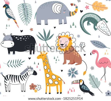 Cute vector seamless pattern with safari animals, elephant, dangerous alligator, wild cat, lion, flamingo, giraffe and tropical plants. Endless background in childish style for fabric, textile, kids d