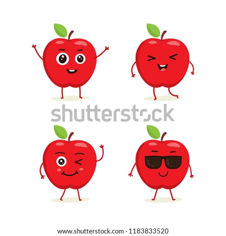 cute vector set of apple fruit