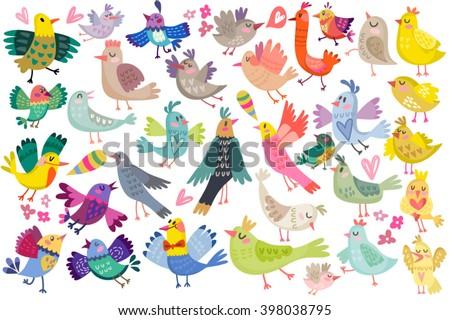 Cute vector set of birds.