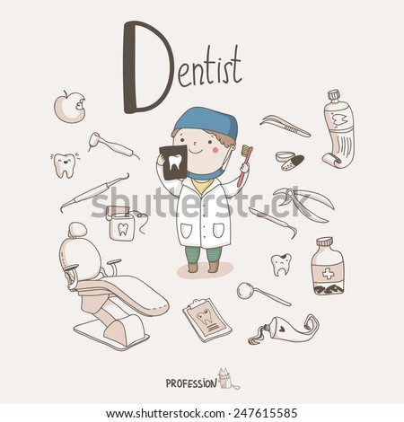 Cute vector set of Dentist with different dental equipment isolated on the light background.