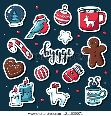 Cute vector set of hygge stickers. Cute illustration winter and christmas hygge elements. Scandinavian style with hygge lettering. #1211030071