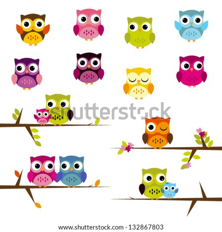 Cute Vector Set of Owls
