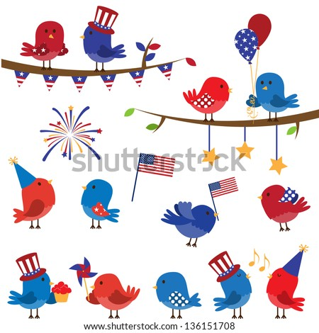 Cute Vector Set Of Patriotic Or Fourth Of July Themed Birds And Branches