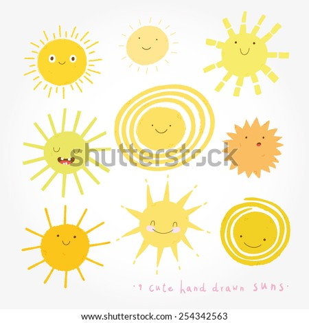 Cute vector set of SUN icons. Funny happy smiley suns. Happy doodles for your design. Bright and beautiful cartoon characters.