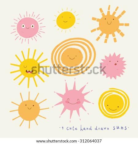 cute vector set of sun icons