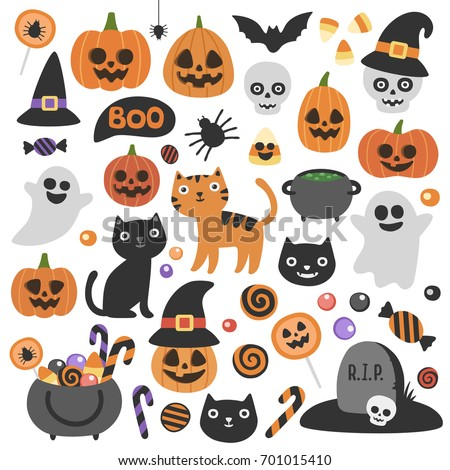 Cute vector set with Halloween illustrations and icons: pumpkin, ghost, cat, bat, candy jar. Isolated on white