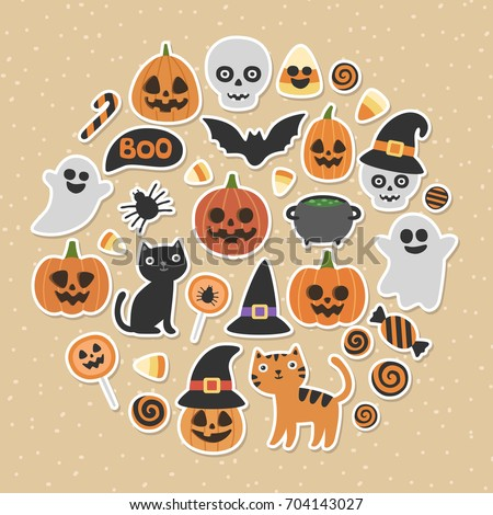 Cute vector set with Halloween illustrations. Smiling and funny cartoon characters: pumpkin, ghost, cat, bat, candy jar. Stickers, icons, design elements