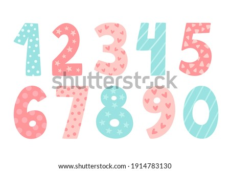 Cute vector set with numbers. Hand drawn illustration in pastel blue pink colour. Doodle and cartoon style. Perfect for happy birthday design in childish style. Baby girl birthday concept Stock photo ©