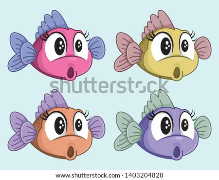 cute vector surprised fish